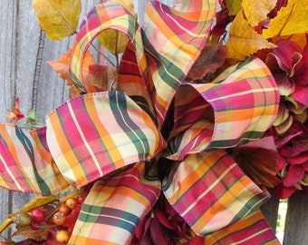 Fall Bow, Fall Plaid Stripe Wired Bow, Fall Wreath Bow, Bow Only, Burgundy, Tan, Orange, Elegant Faux Silk Ribbon for Fall Wreath Decoration