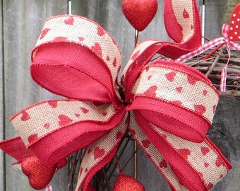 Valentine Bow, Valentine's Day Wreath Bow Only with Burlap and Faux silk, LOVE HEARTS Wreath Bow, Burlap Valentine Decor, Etsy Bow