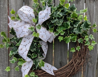 Wreath Great for All Year Round - Country, Shabby Chic Variegated Ivy Wreath Everyday Wreath, Door Wreath, Front Door Wreath