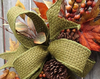 Green Fall Bow, Basket Weave Jute ribbon, Sturdy Wire, Fall Wreath Bow, Everyday Bow, Bow only