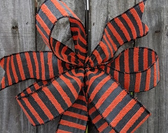 Halloween Wreath Bow, Halloween Lantern Bow, Orange and Black Bow with stripes, WIred Wreath Bow, Halloween Wreath