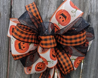 Wreath Bow for Halloween, Pumpkin Halloween Wreath Bow, Ribbons / Tails, Wild Rustic Halloween Wreath Bow, Halloween Wreath Decoration
