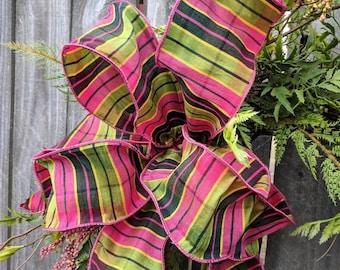 Wreath Bow Only, Spring Summer Wreath Bow, Plaid Stripe Pink and Green Bow, Plaid Bow, Spring Summer Lantern Bow
