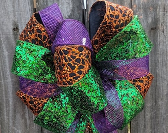 Halloween Wreath Bow, Black Orange Purple Halloween Bow, Lots of Ribbons / Tails, Sparkly Glitzy Scary Halloween Wreath Bow