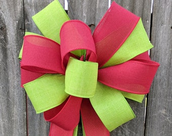 Christmas Bow, Red and Bright Green Christmas Wreath Bow, Door Window, Large Red and Lime Green Mixed Ribbons Wired Linen - Finish Bow
