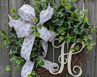 Year Round Wreath, Country Chic Wreath, Simple  Wreath, Spring Summer Wreath, Door Wreath, Horn's Handmade