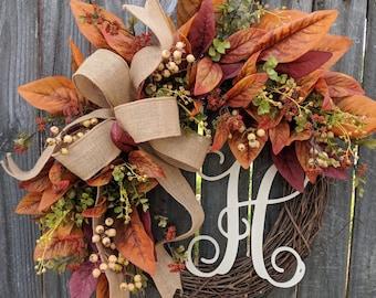 Fall Wreaths, Fall Decoration, Magnolia Fall Colors, Cream Berries, Monogram Option, Fall Burgundy, Green, Etsy Wreaths