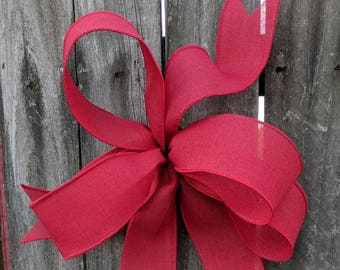 Wreath Bow, Red Wreath Bow, Christmas Wreath Bow, Summer, Bow for Wreath, Messy Bow, Lantern, Wedding Decor, Lantern Bow