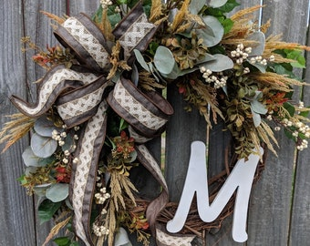 Fall Wreath Gray, Brown, Cream Fall Wreath, No Orange Wreath, White Pumpkin Decor, Fall Door Wreath, Fall Monogram Letter Wreath