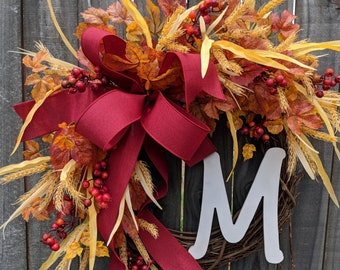 Fall / Autumn Wreath with Monogram Option, Fall Decoration, Fall Door Wreath, Fall Letter Wreath