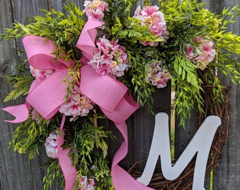 Spring Pink Wreath, Monogram Wreath, Mother's Day, New Baby, Spring Door Wreath, Realistic Wreath, Pink Geranium Wreath