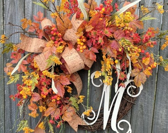 Fall Wreaths, Wreath for Fall / Autumn, Wild Fall Wreath, Cork Fall Monogram Wreath, Wreath with Letter, Horn's, Halloween Wreath