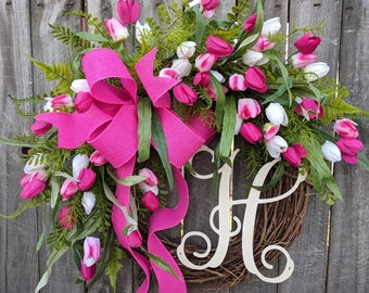 Tulip Wreath, Monogram Wreath, Pink Wreath, Tulips Wreath for Spring, Springtime Wreath, Door Wreath for Spring