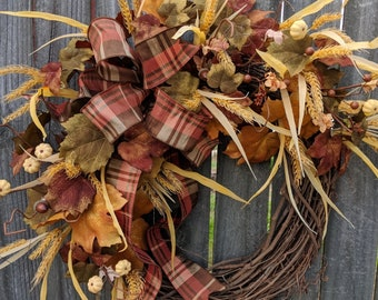 Fall Cream Wreath, Fall / Autumn Brown Wreath, Plaid Bow, Muted Colors, Cream/Beige/Off White Pumpkins, Wheat