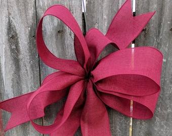 Bow for Wreath, Christmas Wreath Bow, Burgundy Wreath Bow, Bow for Wreath, Burgundy Bow, Lantern, Wedding Decor, Door Wreath Bow