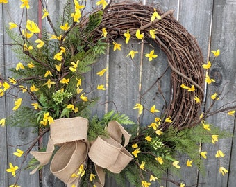 Forsythia Wreath, Yellow Bell Wreath, Spring Wreath, Yellow Spring Wreath, Forsythia and Fern Wreath, Spring Wreaths