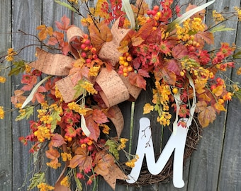 Fall Wreath, Front Door Wreath, Fall Berry Wreath, Autumn Thanksgiving Wreath, Fall Flower Harvest, Halloween Initial Wreath