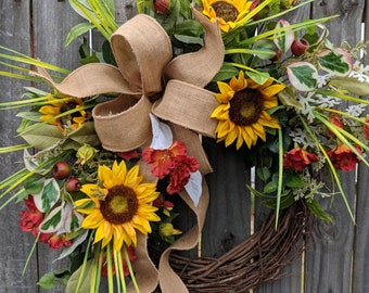 Spring / Summer Wreath, Burlap Sunflower Farm Wreath, Wild Grassy Sunflower Wreath