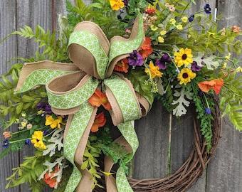 Spring Wreath, Spring Wildflower Wreath, Wreaths, Burlap Ribbon, Front Door Wreath