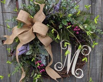Door Wreath, Monogram Wreath, Burlap Wreath, Wreath for All Year Round,Spring Wreath, Berry Wreath, Natural Wild Front Door, Purple Pink