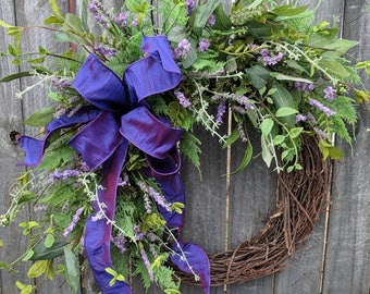 Spring Lavender Wreath, Spring / Summer Wreath, Purple Lavender Farm Wreath, Burlap Option, Wild Spring Decor