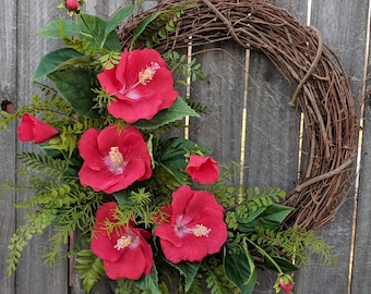 Tropical Hibiscus Wreath, Realistic Hibiscus Fern Wreath, Spring / Summer Wreath, Red Hibiscus Bloom Wreath, Horn's Handmade Wreath