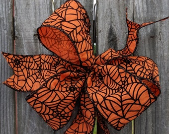 Halloween Bow, Halloween Wreath Bow, Orange Bow with Raised Spider Web Detail, WIred Wreath Bow, Halloween Wreath