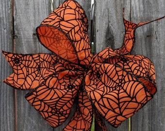 Halloween Bow, Halloween Wreath Bow, Orange Bow with Raised Spider Web Detail, WIred Wreath Bow, Halloween Wreath
