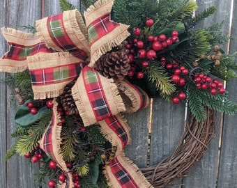 Christmas / Holiday Wreath / Grapevine Plaid Wreath with with Berries and Pine/ Natural Christmas Wreath / Jute Burlap Christmas Wreath