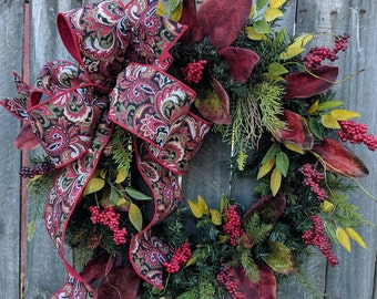 Christmas Wreath, Holiday Wreath, Elegant Masculine Wreath, Berries, Front Door Wreath, Front Door Wreaths, Magnolia, Christmas Wreath