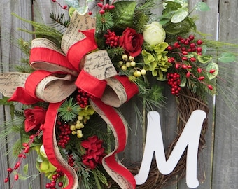 Christmas Wreath, Snowy Rose Garden Christmas Wreath, Hydrangea Christmas Wreaths, Monogram Christmas Wreaths, French Garden Christmas