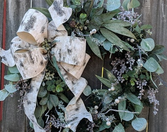 Christmas Winter Wreath, Eucalyptus Holiday Wreath, Birch and Eucalyptus Wreath, All Winter Long Front Door Wreath,Christmas Wreath