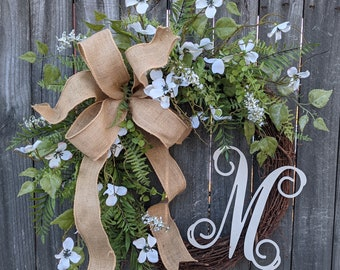 Dogwood Wreath - Dogwood Burlap Wreath - Door Decor - Spring Wreath - Year round Wreath -Welcome Wreath -Front Door Wreath -Wedding Wreath
