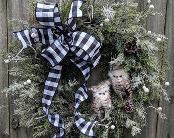 Christmas Wreath Owl Wreath Winter Wreath Black and White Owl Wreath Black and White Christmas Icy Wreath