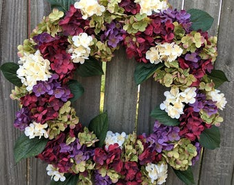 Hydrangea Wreath - Wreath Great for All Year Round - Everyday Hydrangea Wreath, Front Door Wreath, Spring, Summer, Fall, Christmas Wreath