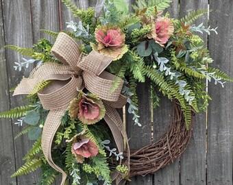 Wreath - Year Round Wreath - Everyday Wreath - Wreath, Front Door Wreath, All Year Round Door Wreath, Door Wreath, Wreath with Bow