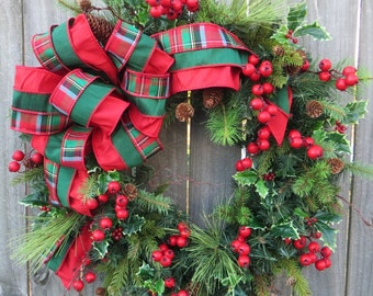 Wreath, Plaid Christmas Wreath, Natural Elegance Christmas Wreath with Berries and Holly and Cedar, Elegant Faux Silk Ribbon