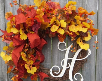 Fall Wreaths, Bittersweet Wreaths, Wreaths for fall,  Ginkgo Leaves Wreath, Fall Wreath for door, Wreath Harvest Decor