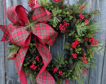 Christmas Wreath Holiday Wreath Plaid Bow Touch of Gold Wreath Traditional Elegant Christmas Timeless Berry Wreaths, Door Wreath