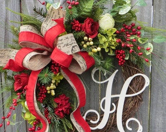 Christmas Grapevine Wreath, Rose Hydrangea Wreath, Merry Christmas Script Ribbon Wreath, French Holiday Garden Wreath, Christmas Wreath