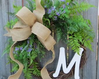Door Wreath ,Everyday Wreath, Wreath with Burlap Bow, Wreath for All Year Round, Wreath with Monogram, Housewarming Gift, Splash of Purple