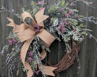 Christmas Winter Succulent Wreath, Burlap Frosted Succulent Christmas Wreath All Winter Long, Door Wreath, Christmas Door Wreath, Wedding