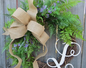 Everyday Wreath, Fern Wreath for All Year Round, Door Wreath, Monogram Wreath, Burlap Wreath, Green Wreath, Touch of Purple