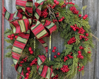 Christmas Wreath Wreath Deluxe Cedar Base Wreath Berries Christmas Bow Wreath, Realistic Cedar Wreath, Natural Christmas Decor