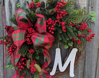 Christmas Wreath, Realistic Pine Christmas Wreath, Christmas Wreaths, Monogram Christmas Wreaths, Christmas Wreaths Etsy, Plaid Christmas