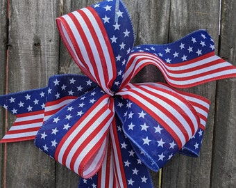 Bow, American Flag Wreath Bow, Patriotic Door Wreath, Simple July 4 fourth  Bow Wreaths and Lanterns, Bow for Wreath, Memorial  Bow