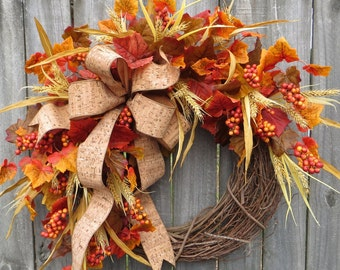 Fall Wreath, Fall / Autumn Wreath, Fall Cork Wreath, Rich Colorful Designer Fall Wreath With Bow, Harvest Decoration