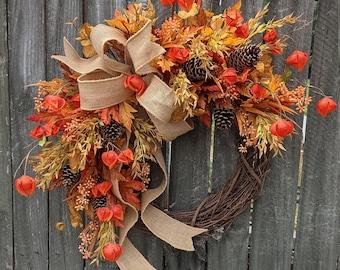 Fall Door Wreath, Lantern, Fall Bow, Wired Fall Burlap Bow, Halloween Wreath, Fall Decoration, Eucalyptus Fall Wreath, Orange