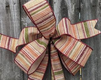 Bow for Wreath, Fall Stripe bow, informal Wreath Bow, Burgundy, orange, gold