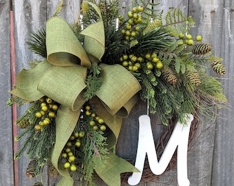 Natural Christmas Wreath, Winter and Christmas Wreath, Green Wreath,Door Wreath, Christmas and New Years, year round Decor, Christmas Gift